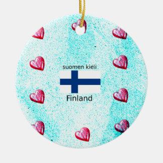 Ornement Rond En Céramique Drapeau de la Finlande et conception finlandaise