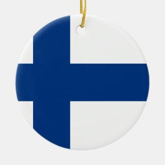 Ornement Rond En Céramique Drapeau de la Finlande (lippu de Suomen, flagga de