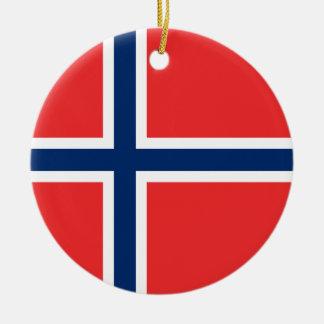 Ornement Rond En Céramique Drapeau de la Norvège
