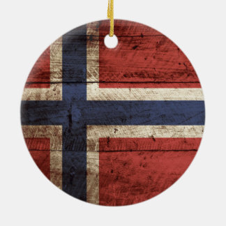 Ornement Rond En Céramique Drapeau de la Norvège sur le vieux grain en bois