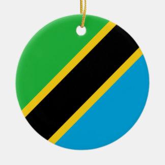 Ornement Rond En Céramique Drapeau de la Tanzanie