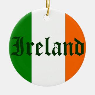Ornement Rond En Céramique Drapeau de l'Irlande