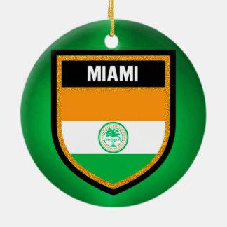 Ornement Rond En Céramique Drapeau de Miami