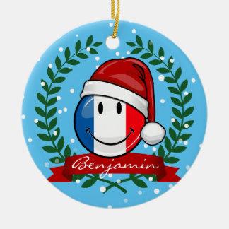 Ornement Rond En Céramique Drapeau de sourire de la France de style de Noël