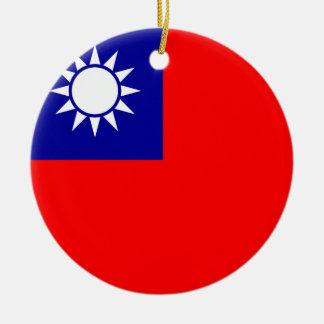 Ornement Rond En Céramique Drapeau de Taïwan
