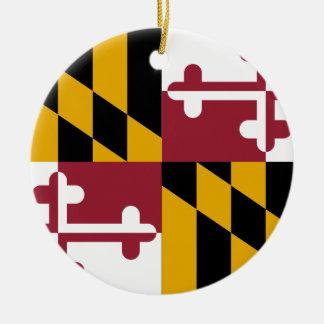 Ornement Rond En Céramique Drapeau d'état du Maryland