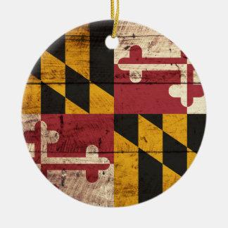 Ornement Rond En Céramique Drapeau d'état du Maryland sur le vieux grain en