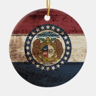 Ornement Rond En Céramique Drapeau d'état du Missouri sur le vieux grain en
