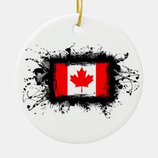 Ornement Rond En Céramique Drapeau du Canada