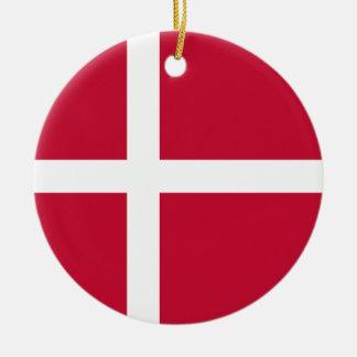 Ornement Rond En Céramique Drapeau du Danemark