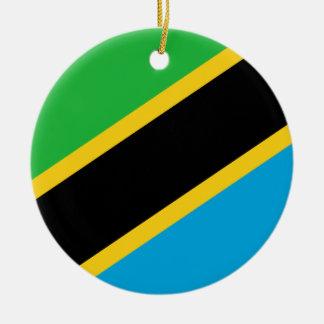 Ornement Rond En Céramique Drapeau national du monde de la Tanzanie