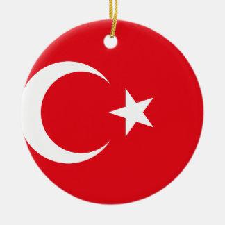 Ornement Rond En Céramique Drapeau national du monde de la Turquie