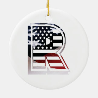 Ornement Rond En Céramique Drapeau patriotique des Etats-Unis d'initiale de