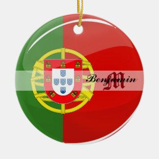 Ornement Rond En Céramique Drapeau portugais rond brillant