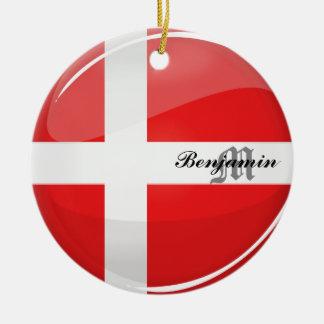 Ornement Rond En Céramique Drapeau rond brillant du Danemark