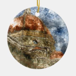 Ornement Rond En Céramique Duomo Santa Maria Del Fiore et campanile
