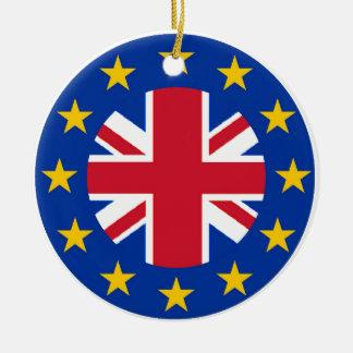Ornement Rond En Céramique E. - drapeau d'Union européenne - Union Jack