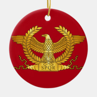 Ornement Rond En Céramique Eagle d'or romain sur le rouge