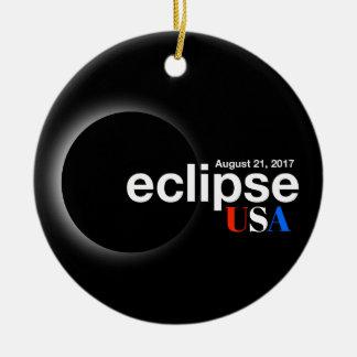 Ornement Rond En Céramique Éclipse solaire totale 2017 - les Etats-Unis