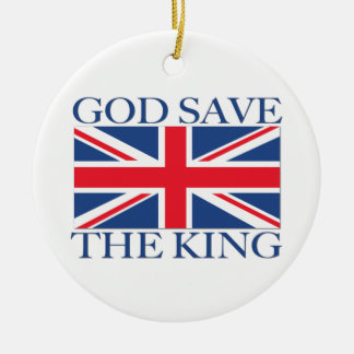 Ornement Rond En Céramique Économies de Dieu le roi avec Union Jack
