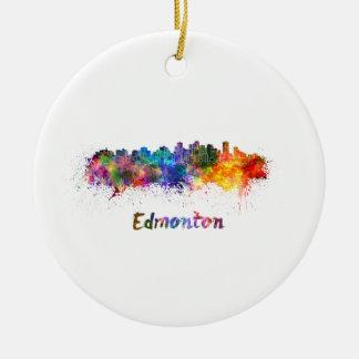 Ornement Rond En Céramique Edmonton skyline in watercolor