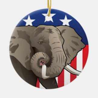 Ornement Rond En Céramique Éléphant des Etats-Unis