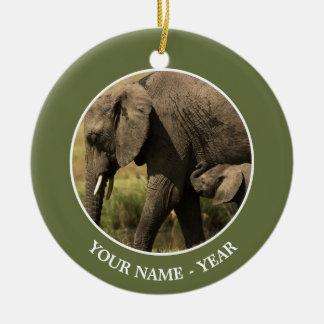 Ornement Rond En Céramique Éléphants africains