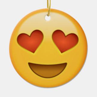 Ornement Rond En Céramique emoji de 2 coeurs