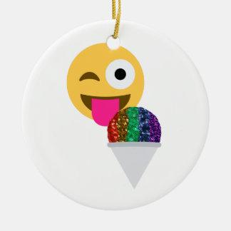 Ornement Rond En Céramique emoji de clin d'oeil de scintillement