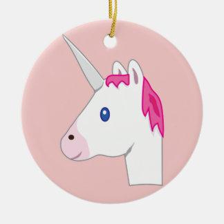 Ornement Rond En Céramique Emoji de licorne