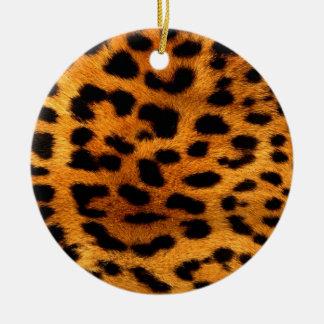 Ornement Rond En Céramique empreinte de léopard tribal d'animal de safari de