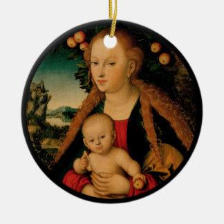 Ornement Rond En Céramique Enfant de Vierge sous le pommier Cranach