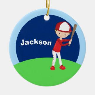 Ornement Rond En Céramique Enfant fait sur commande de base-ball
