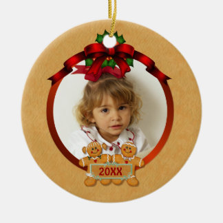 Ornement Rond En Céramique Enfants bilatéraux de pain d'épice de vacances