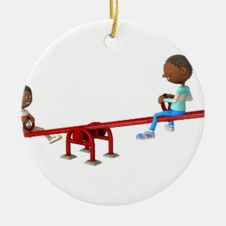 Ornement Rond En Céramique Enfants d'Afro-américain de bande dessinée sur une