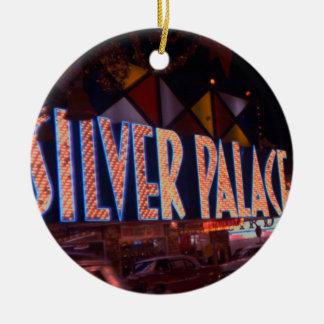 Ornement Rond En Céramique Enseigne au néon 1959 argenté de casino de palais