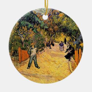 Ornement Rond En Céramique Entrée au parc public par Vincent van Gogh