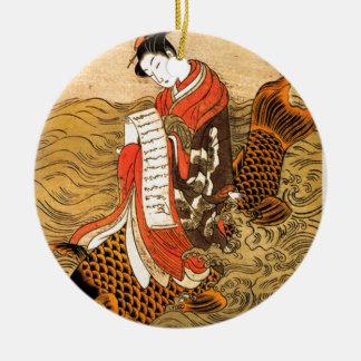 Ornement Rond En Céramique Équitation de Koi