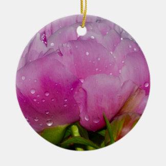 Ornement Rond En Céramique Étincelle florale rose