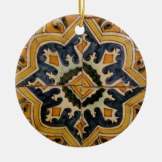 Ornement Rond En Céramique Étoile vintage turque de jaune de carreau de