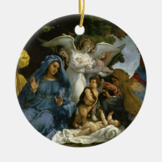 Ornement Rond En Céramique Famille sainte avec Jean-Baptist