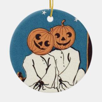 Ornement Rond En Céramique Fantôme mignon de lanterne de Jack O de citrouille
