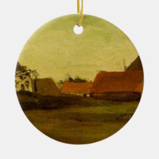 Ornement Rond En Céramique Fermes de Van Gogh dans Loosduinen, la Haye