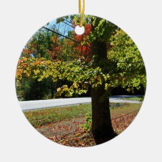 Ornement Rond En Céramique Feuille d'automne au Maine