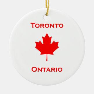 Ornement Rond En Céramique Feuille d'érable de Toronto Ontario