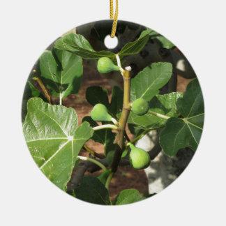 Ornement Rond En Céramique Figues vertes mûrissant sur un figuier