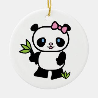 Ornement Rond En Céramique Fille de panda de Lil