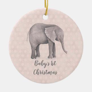 Ornement Rond En Céramique Fille d'éléphant avec l'arrière - plan géométrique