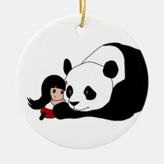 Ornement Rond En Céramique Fille et panda