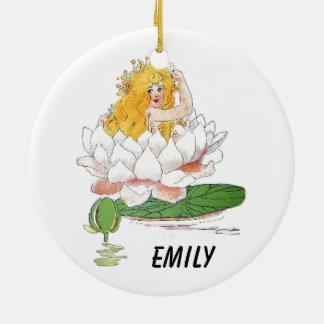 Ornement Rond En Céramique Fille féerique florale mignonne d'enfant de fleur